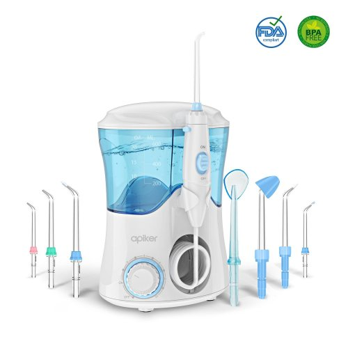 Water Flosser with 8 Multifunctional Tips, Apiker Oral Irrigator Family Dental Water Jet Flosser for Teeth Braces, 10 Pressure Setting and 600ml...
