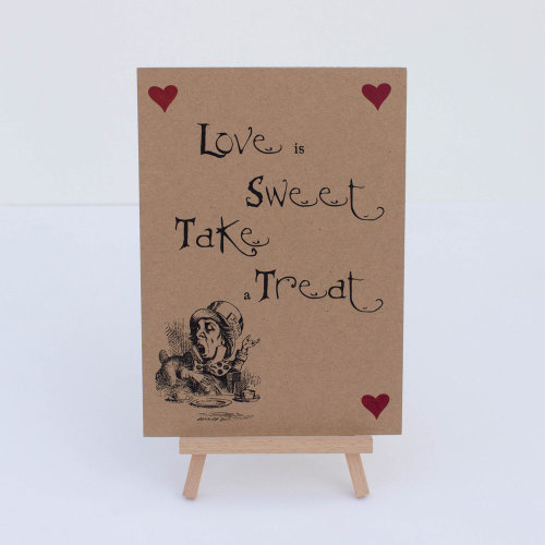 Alice in Wonderland Candy Sweet Bar Kraft Brown 'Love Is Sweet' Sign And Easel