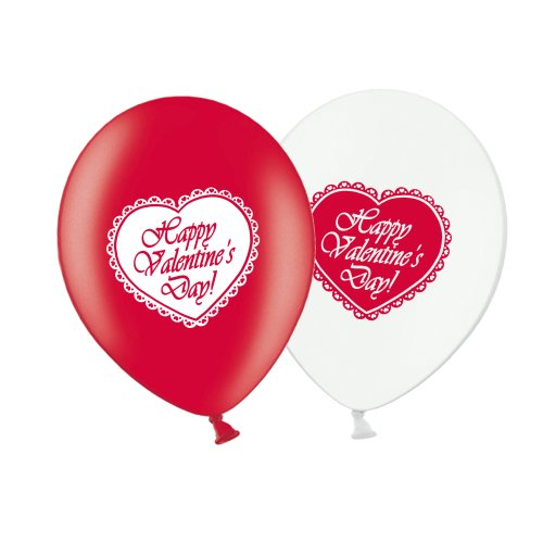 "Valentine's Day Lace Heart  - R&W Asst 12"" Latex Balloons pack of 25"