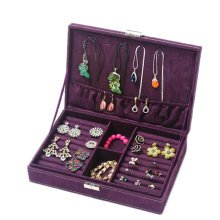 Jewelry Box Necklace Organizer Rings Display Earrings Storage Case-B01