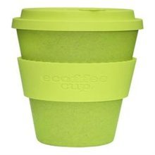 Ecoffee Cup Organic Bamboo Fibre Reusable Coffee Cup Lime 400ml (order 36 for Trade Outer)