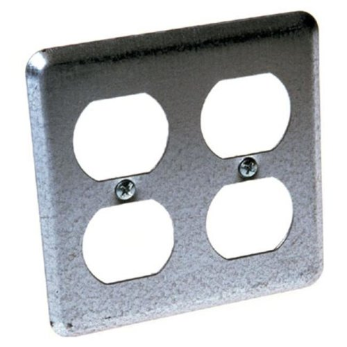 Hubbel Electric Raco 4in. Square 2 Duplex Receptacles Box Cover 0873