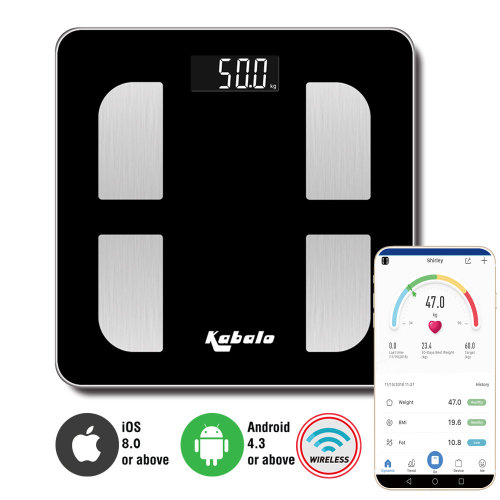 Kabalo Bluetooth Black 180kg Capacity Electronic Digital Multi-Function BODY FAT Composition Water Muscle Bone