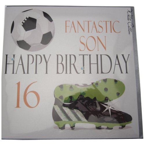 WHITE COTTON CARDS Fantastic Happy 16 Handmade Large Birthday Card Son 16thFootball On OnBuy