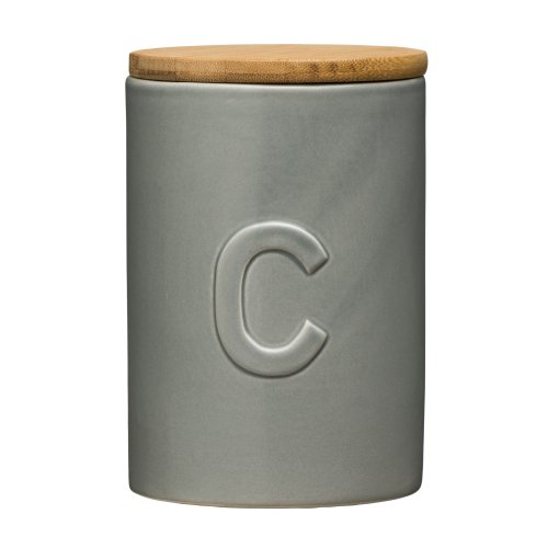 Fenwick Coffee Canister Grey Dolomite, Bamboo Lid