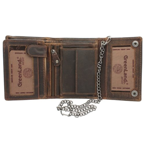 Greenland-Nature MONTANA Gents Leather Biker Wallet With Security Chain 191 Brown