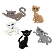 Nine Lives Cat - Novelty Craft Buttons & Embellishments by Dress It Up
