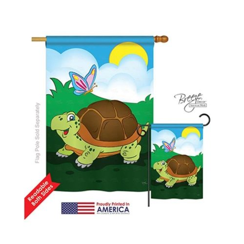 Breeze Decor 10040 Wildlife & Lodge Turtle 2-Sided Vertical Impression House Flag - 28 x 40 in.