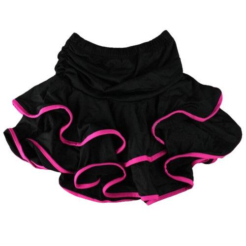 [Black&Rosy Ruffle] Little Girls Latin Dance Skirt Soft Practice Dress Asian M