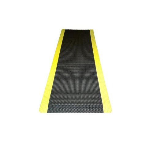 Ranco Industries RFLX24DSBYX15 Reflex Double Sponged Anti-fatigue Mat, Black with Yellow Border - 2 ft. x 15 ft. x 1 in.