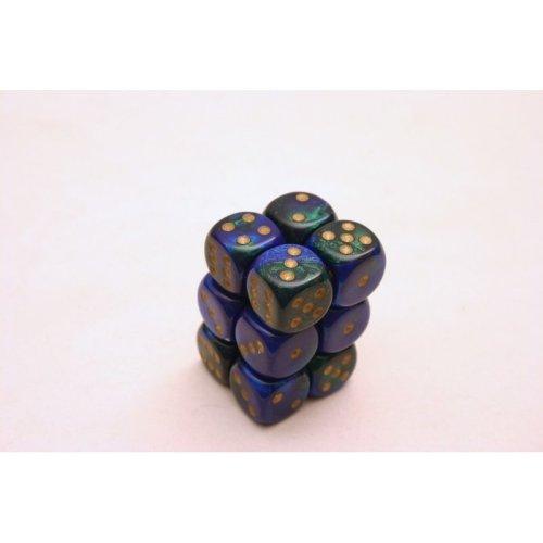 Chessex Gemini 16mm D6 x 12 - Blue/Green/Gold