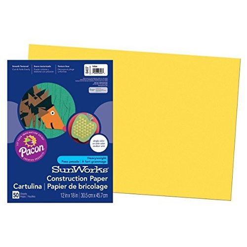 Pacon SunWorks Construction Paper 12 Inches by 18 Inches 50 Count Yellow 8407