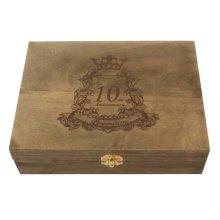 Creative Retro Lock With Wooden Box Desktop Rectangle Storage Box-Black