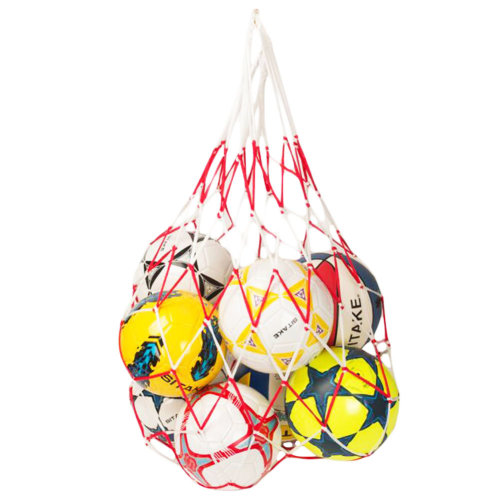 Basketball Football White Red Carry Net Mesh Nylon Bag Train School Supply
