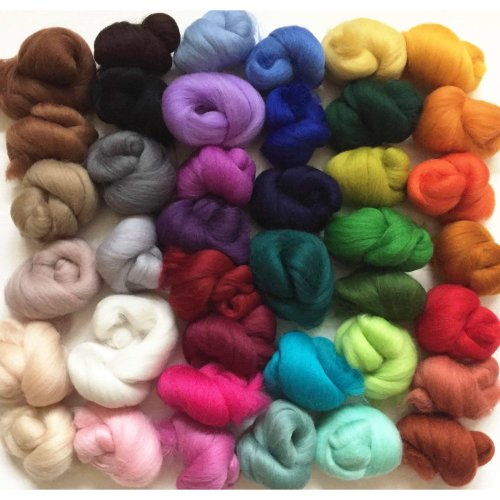 40 colour pack of Merino Wool Tops for Needle/Wet Felting approx 120 gms