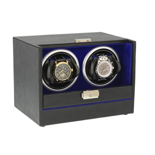 Black Genuine Leather Dual Watch Winder Blue Velvet Lining by Aevitas