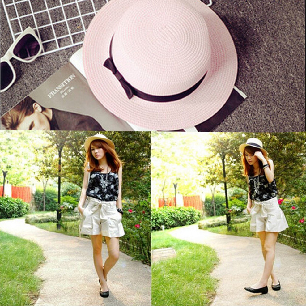438c6d0db5e41 Lady s  Girl s Beautiful Fashion pink Beach Straw Sun Cap Hat on OnBuy
