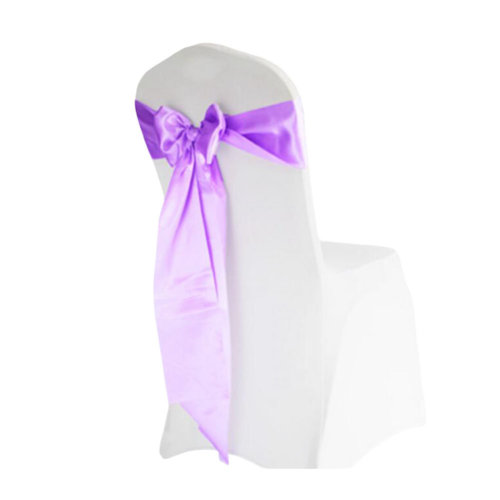 10PCS Wedding Anniversary Ribbon Elegant Chair Cover Bands Decor-Light Purple
