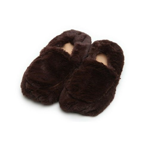 Warmies Slippers Brown Plush Microwaveable Warm Fluffy Adult UK Size 3-7