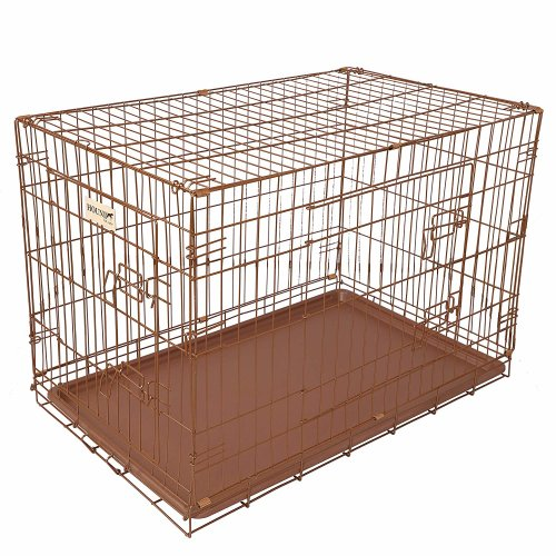 Hound Antique Copper Finish Fold Flat Metal Crate With Metal Tray Medium