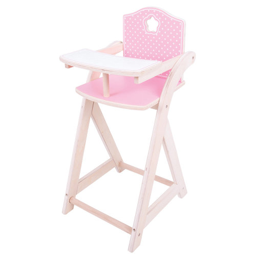 Bigjigs Toys Wooden Doll's High Chair - Pretend Play