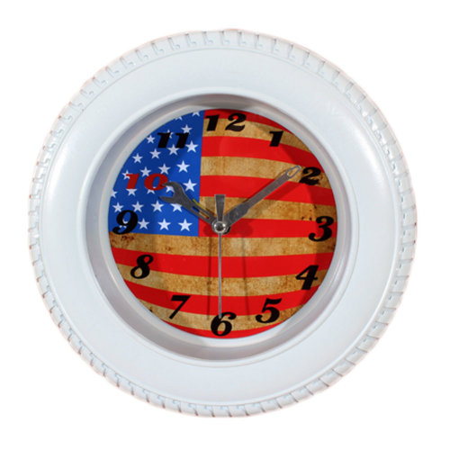 Retro USA Flag Tire Shape Wall Clock Fashion Look Home Decoration(8'')