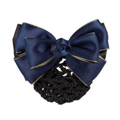 Womens Elegant Hairnet Hair Clip Snood Net Bow Barrette Hairdressing, F
