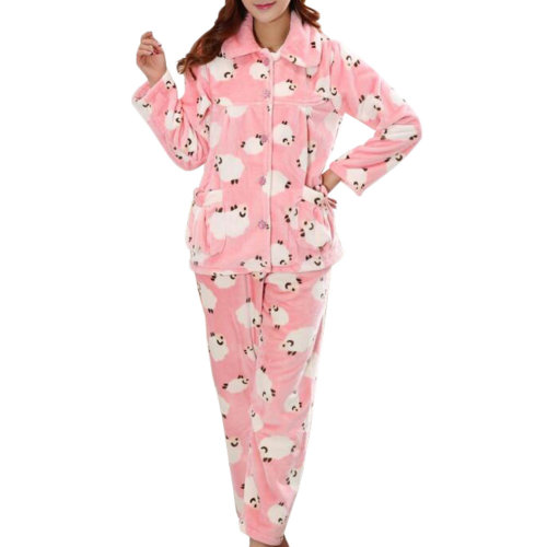 Casual Pajama Set Warm Sleepwear Home Apparel Flannel Pajamas X-large-A4