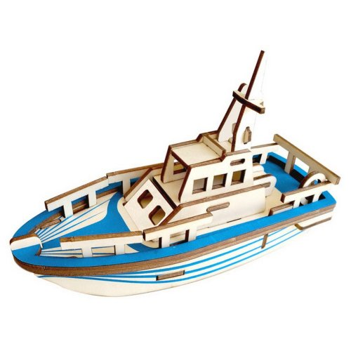 Children's Wooden Puzzle Stereo 3D Simulation Toy Model, Lifeboat Block (33 Pcs)