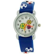 Relda Childrens Boy's 3D Soccer Football Blue Silicone Strap Watch REL45