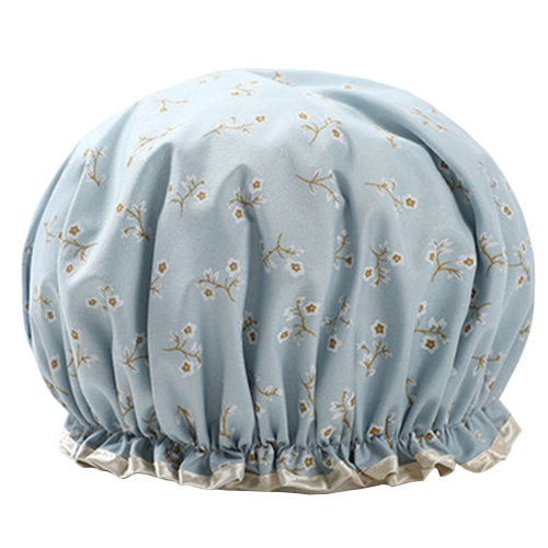 Womens Stylish Design Mold-resistant Shower Cap Double Layers Waterproof Bath Cap,D