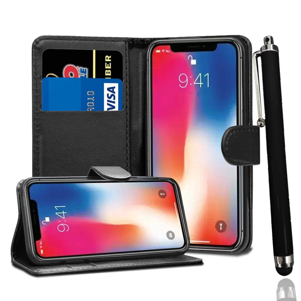 competitive price c7473 3d94c i-Tronixs - BLACK STAND WALLET CASE FOR APPLE IPHONE X + STYLUS PEN