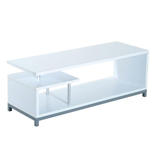 Homcom Modern TV Cabinet Stand w/ 2 Tier Storage Shelves Home Furniture 114cm (White)
