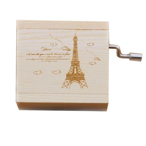 Mini Hand Crank Music Box Wooden Music Box Eiffel Tower