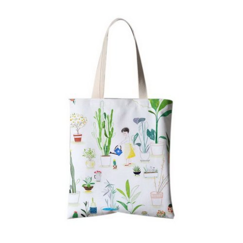 Japanese Style Flower Illustrator Canvas Bag Travel Shopping Bag A Watering Girl
