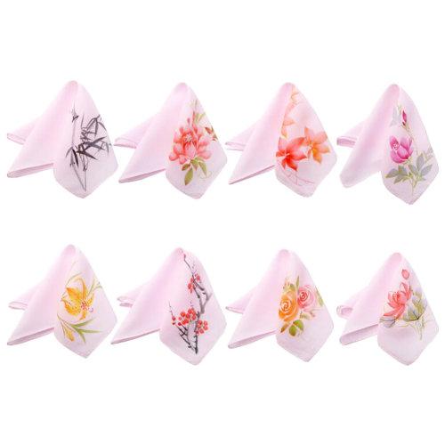 Pink Elegant And Retro Random Pattern Embroidery Handkerchief-Set Of One