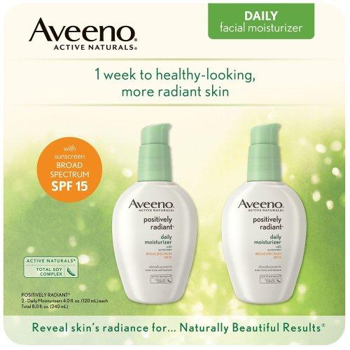 Aveeno Positively Radiant Daily Moisturizer, SPF 15, 2 pk, 4 oz/120 ml
