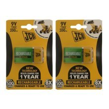2 x JCB Pre-Charged 9V Batteries 200MAH Rechargeable High Capacity Ready To Use