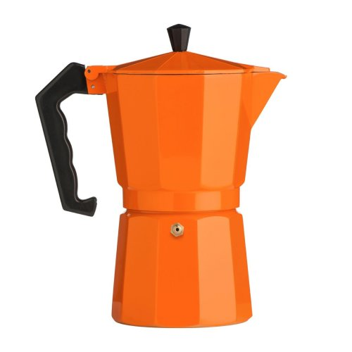 9 Cup Espresso Maker, Aluminium - Orange