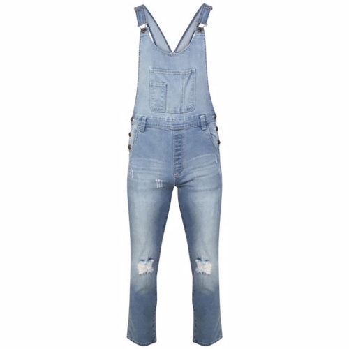 Ladies Long Dungarees Playsuit Jumpsuit