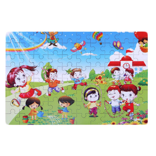 80PCS Tin Box Jigsaw Puzzle Wooden Cartoon Puzzle Kids Intelligence Toys Spring