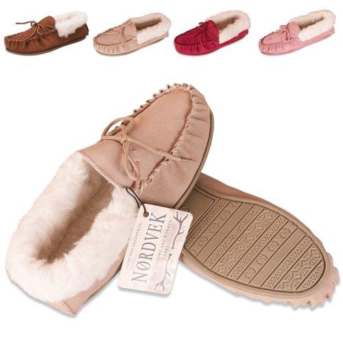 c8a9af925ce Nordvek Sheepskin Slippers Women - Wool Lined Moccasin - Non-Slip Hard Sole  # 417-100