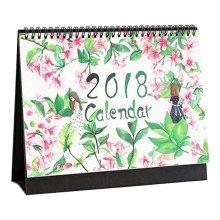 2017-2018 Lovely Cartoon Calendar Desk Standing DIY Calendar-Flower