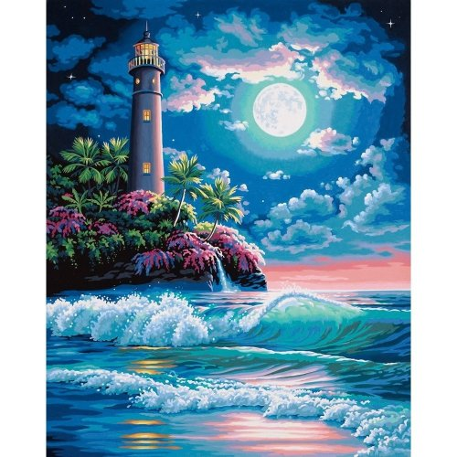 Dpw91424 - Paintsworks Paint by Numbers - Lighthouse in Moonlight