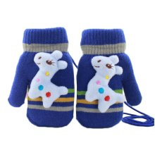 Thick Cute Fawn Plush-lined Hand Warmer Toddler Warm Gloves with String, #04