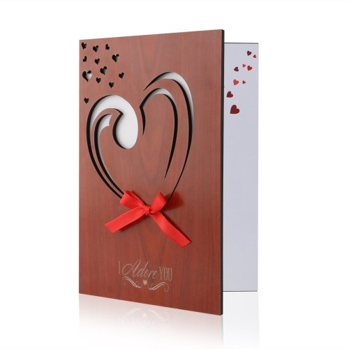 Valentine's Day Card Real Wood Handmade Love card