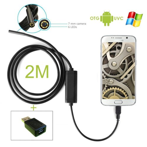 Endoscope Waterproof Blocked Drain / Cavity / Ear Inspection Camera 2m for Android/Windows PC