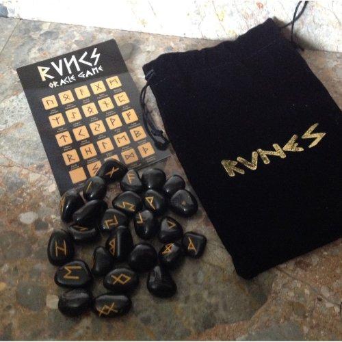 Rune Stones - Black Agate Crystal Divination Runes