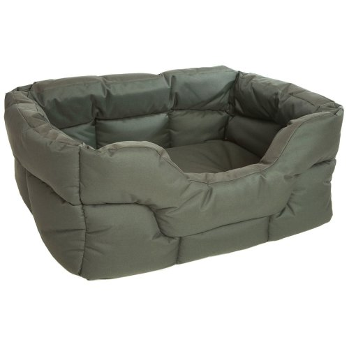 Country Dog Heavy Duty Waterproof Rectangle Drop Front Softee Bed Green 75x60x27cm