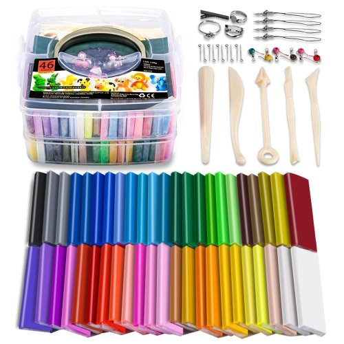 ESANDA Polymer Clay, 46 Blocks Colored Modeling Clay DIY Soft Craft Clay Set with Modeling Tools and Accessories in Storage Box, Best Gift for Kids